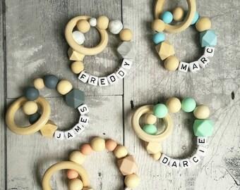 Personalised grey teething ring / teething toy / personalised teether / baby name gift / teething ring / personalised baby gift