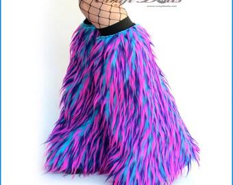 Monster Fluffies Hot Pink, Purple, Blue Rave Wear Furry Leg Warmers