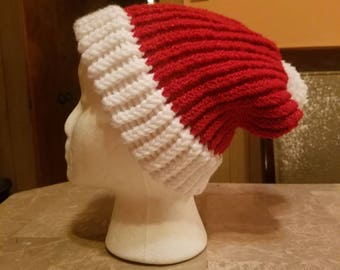 Warm holiday knitted adult sized Santa hat