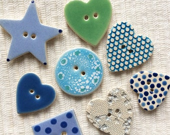 8 Seaside Ceramic Buttons, Cute Buttons, Handmade Buttons, Dotty Buttons, Starfish Buttons, Wedding Favours, Seashore, Cornish Buttons.