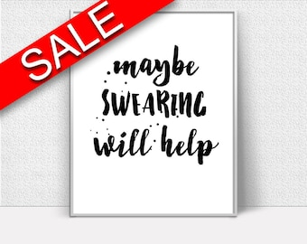 Wall Art Help Digital Print Swearing Poster Art Help Wall Art Print Swearing  Wall Decor Help swear words funny print will help dorm poster