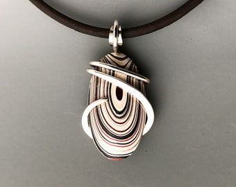 Fordite Necklace, Detroit agate necklace, fordite jewelry, motor agate necklace, fordite choker, motor agate necklace, Wire Wrap