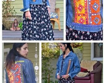 Embellished denim jacket-Bohemian-Gypsy-hippy style