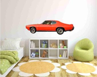Muscle Car Wall Decals 1969 Pontiac GTO Judge,Man Cave decor, Classic Car Wall Sticker,Car photo wall sticker,Boys Bedroom decor,Vintage Car