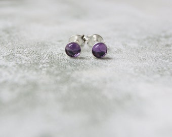Tiny Amethyst Stud Earrings with Sterling Silver Earring Posts, Genuine Birthstone Earrings, February Birthstone Stud Earrings