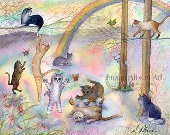 Rainbow Bridge cat 5x7 8x10 11x14 art print tabby tuxedo siamese ginger sorry for your loss condolences sympathy from Susan Alison painting