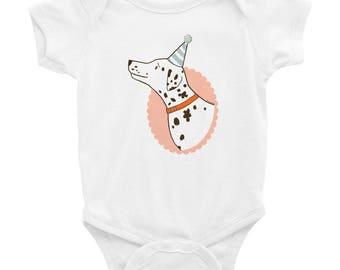 "Birthday Pup"" Baby Onesie (white)"