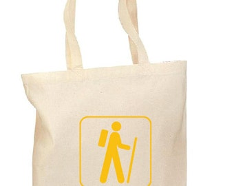 The Hiker Tote, Hand printed, Grocery Bag, Reusable Bag, Screenprinted, Hike, Cotton Tote, Canvas Tote, Shopping Bag, Gift