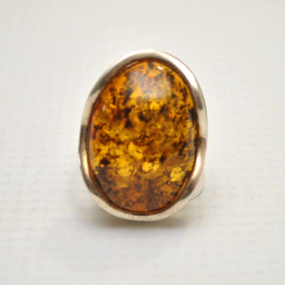 Sterling Silver Green Amber Adjustable Ring #9315