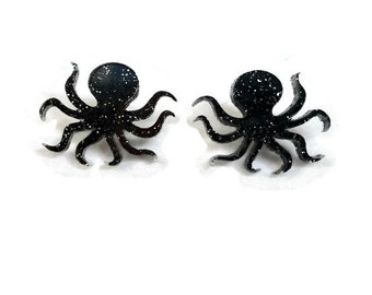 Black Glitter Octopus Earrings - Nautical, Ocean, Sea Creature - Women's octopus studs - Laser Cut Acrylic Nickel free earrings