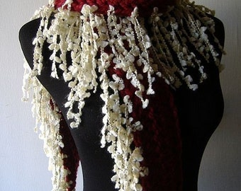 Valentine Fringe Scarf Warm Thick Fringie in Garnet Red White