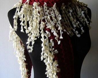 Valentine Fringe Scarf Warm Thick Fringie in Garnet Red White