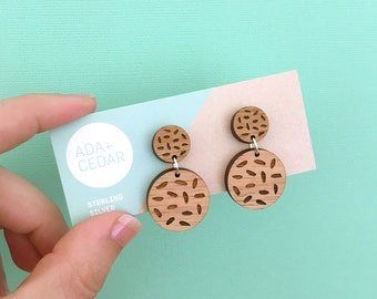 Moonscape - Wood Earring Studs with Sterling Silver posts - Geometric shapes - laser cut etched - womens jewellery jewelry nature blackwood