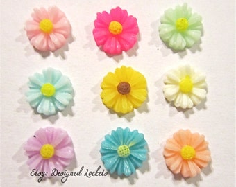 Assorted Daisy Flower Floating Charms for Memory Lockets fits Origami - Choose One -