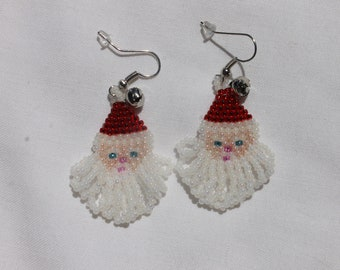 Hand Beaded Holiday Santa Earrings Color S/L Red Hat Silver Tone French Hooks