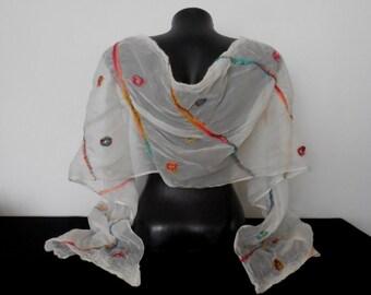 Silk White Shawl, Silk Bridal Multicolor Scarf, Long Nuno Felted Shawl, Nuno Felting Silk Wraps, Wedding Merino Shawl, Valentine's Day Gift