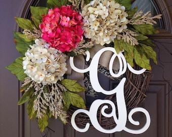 Wreath -Summer Wreath for Front Door - Outdoor Hydrangea Wreath with Burlap -Pink and Cream Hydrangea Wreath with Monogram -Grapevine Wreath