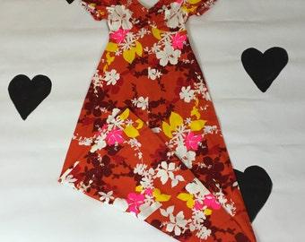 70's Hawaiian Print Maxi Dress 1970's Tropical floral bark-cloth long dress / tiki / flower power / neon / orange / luau / gown /cotton xs