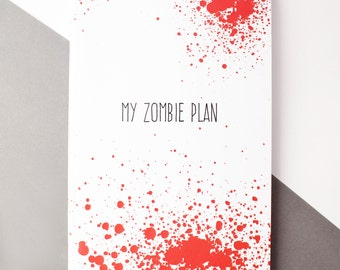 Zombie notebook, A6 lined notebook, Zombie gift, Zombie plan stationery