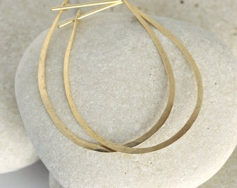 Hammered Gold Teardrop Hoop Earrings in 14K gold or gold fill