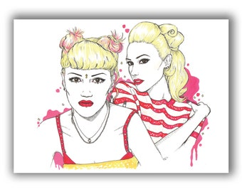 Gwen Stefani No Doubt to Nowadays A5 Illustration Print