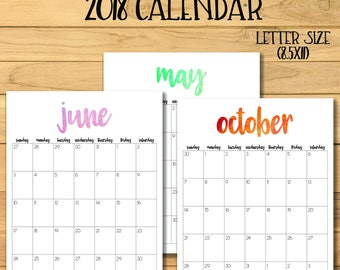 2018 Monthly Calendar, 2017 Calendar, 2018 Printable Calendar, Watercolor Calendar, 2017 2018 Printable Desk Calendar, Simple Wall Calendar