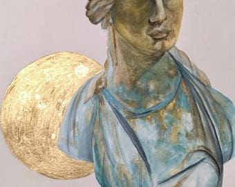 Original Watercolor of Luna Goddess Statue with Gold Moon