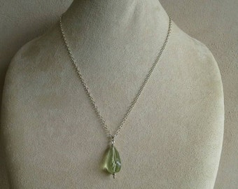 "Green Amythest/Praisiolite Pendant Necklace,1 1/4"" Long, Sterling Silver 18""-21""Adjustable Chain With Sterling Lobster Clasp //Gifts for Her"