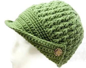 Sage green brimmed hat, crochet green hat, women's brimmed hat, women's crochet hat, vintage style hat, crochet women's hat, hat with brim