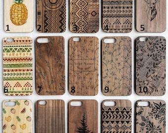 Floral, Vintage leaf, Wood case, wood iphone case, iphone 6 case, iphone 6s case, iphone 7 case, iphone 8 case, Samsung galaxy case