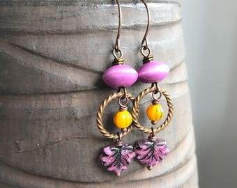 Boho Style Czech Glass Maple Leaf Earrings. Pink & Yellow Earrings. Czech Glass Earrings. Brass Earrings. Colorful Bohemian Summer Jewelry