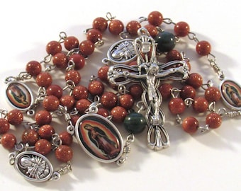 Our Lady of Guadalupe Goldstone and Indian Bloodstone Gemstone Handmade Catholic Rosary