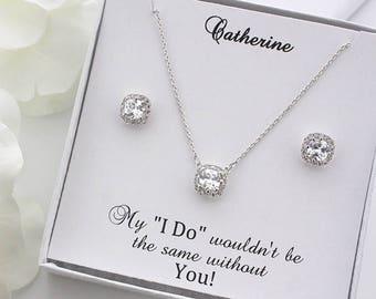 Julia - Silver Wedding Jewelry Set, Bridal Earrings + Necklace, Crystal Cushion Earrings, Stud Earrings, Bridesmaid Gift Set
