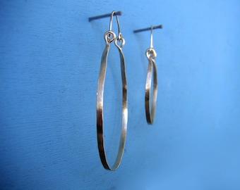 """Big Gold Hoops 2.5"""" Gold Hammered Hinged Hoop Earrings Horseshoe Hoops Brushed Metal Hoops Wire Jewelry Hoops with Wires"""