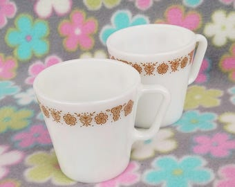 Set of 2 Vintage Pyrex Milk Glass Coffee Mugs in Butterfly Gold Design