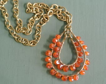 Eclectic Orange Beaded Necklace, Delicate Semi Precious Wrapped Beads and 14K Plated Chain, Beautiful Gift, One of a Kind By UPcycled Works