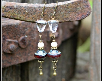 Cranberry Red Earrings with Vintage Crystal Charms handmade earrings