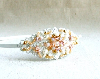 Peach Wedding Headpiece Bridal Beaded Headband Beadwoven Hair Accessory Pearl Glass Opal Crystal Head Piece White Pink