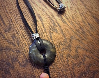 Labradorite Donut Pendant Necklace on Black Leather Cord with Handmade Terracotta Aromatherapy Diffusing Beads