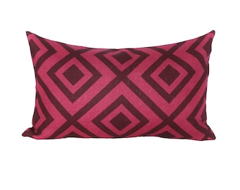 READY TO SHIP - 12x20 La Fiorentina Wine & Magenta decorative pillow cover (sized for 12x22 or 13x21 insert)