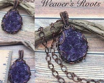 Druzy Amethyst Crystal Wire Wrap Pendant Necklace, Handmade, Antiqued Copper, Wire Wrap Jewelry, February Birthstone, free USA ship