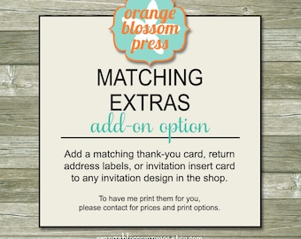 Matching Extras Add-On Option - Printable File