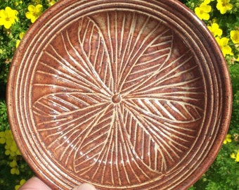 Serving Dish with Carvings - Handmade pottery