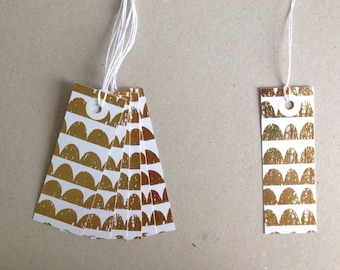 7 gift tags paper tags scraps 3x8,5 cm golden design gold