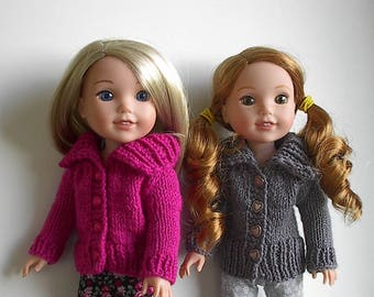 """14.5 Inch Doll Clothes Knit Sweater with Big Collar Handmade to fit Wellie Wishers and similar 14"""" dolls - You Choose Color"""