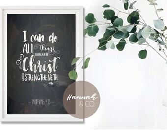 Philippians 4:13 KJV Bible Scripture All Things Through Christ Blackboard Chalk Handlettered Christian Printable  Decor Instant Download
