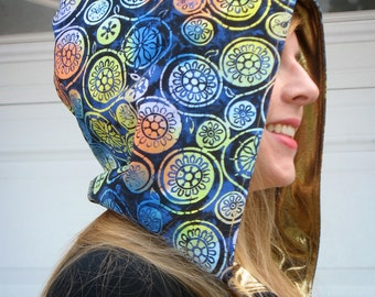 Blue Batik and Metallic Gold Hood - Reversible