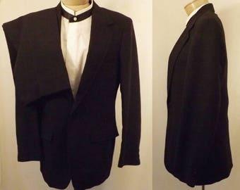 70's Men's Black Wool Knit 2 pc Wedding Suit Size 36 / 38