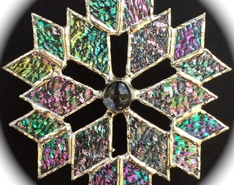 stained glass snowflake sun catcher  (design 5B)