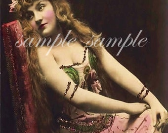 VINTAGE photo DIGITAL DOWNLOAD Gypsy Art Printable Beautiful Woman Antique Photograph Victorian Risque Gypsy Bohomeian Boho Shabby Chic